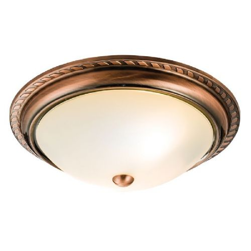 Antique copper effect plate & acid etched glass Flush Light 61240 by Endon